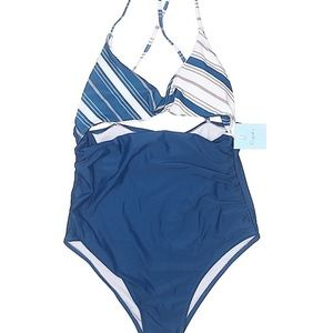 Blue & White Striped Cupshe One Piece Bathing Suit